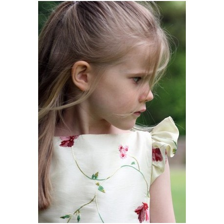 Isobel ivory and purple embroidered flower girl dress with flounce sleeves by UK designer Little Eglantine