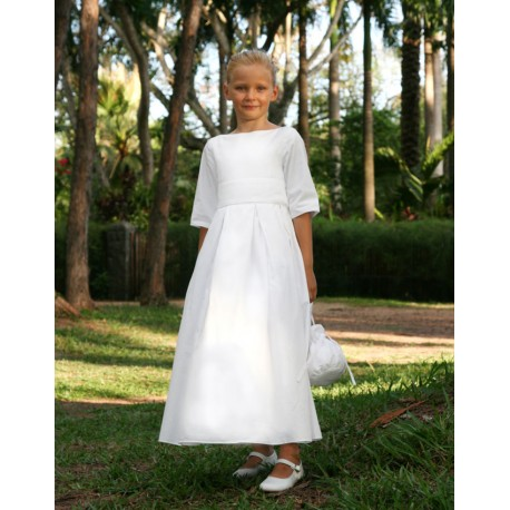 Charlotte white flower girl dress with full lenght pleasted skirt - Little Eglantine
