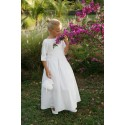 Designer communion dresses Ireland - Charlotte white cotton with full length pleated skirt - Little Eglantine
