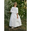 Holy communion dresses - Charlotte white cotton with full length pleated skirt - Little Eglantine