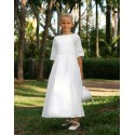 Designer communion dresses - Charlotte white cotton with full length pleated skirt - Little Eglantine