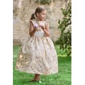 Isobel gold embroidered flower girl dress by UK designer Little Eglantine