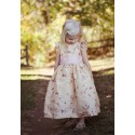 Isobel gold embroidered flower girl dress with soft pink sash and frill sleeves by UK designer Little Eglantine