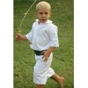 Page boy outfits - white Cotton page boy shorts & navy blue cummerbund- Little Eglantine