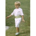 Page boy shorts - White Cotton page boy outfits - shorts with pale green cummerbund - Little Eglantine