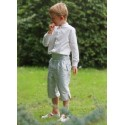 page boy outfits - soft grey silk 3/4 button shorts for page boys by Little Eglantine