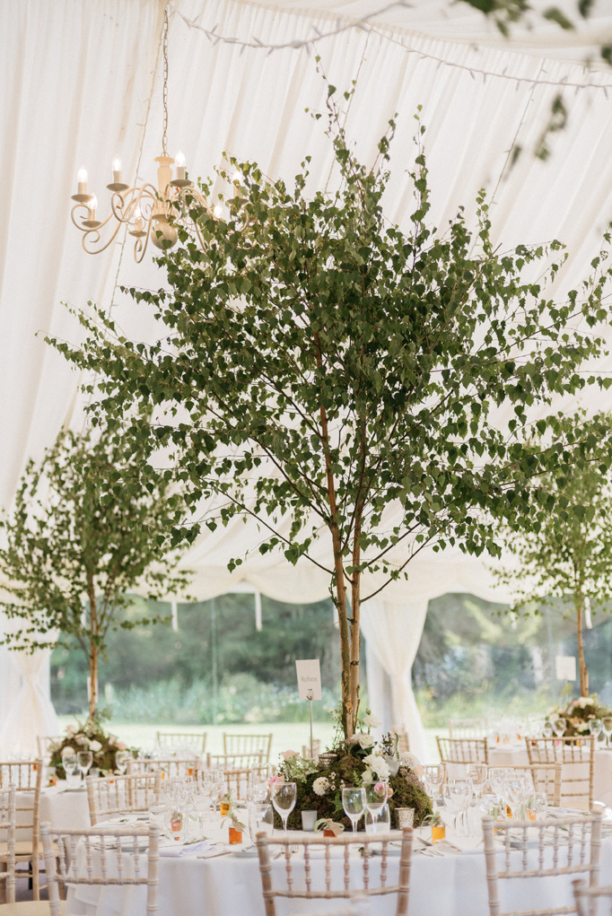 lovely tablescapes with real trees by Flowersbykirsty.com
