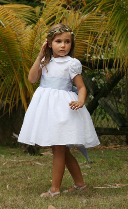 Ambre peter pan collar shirt and puff sleeve knee-length flower girl dress- white and lavender - Little Eglantine