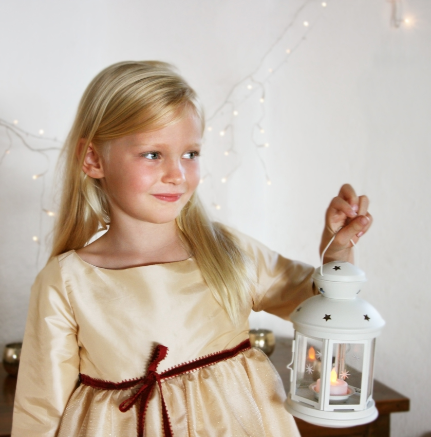 Gold girls party dress for Christmas and New Year's eve by French UK designer Little Eglantine