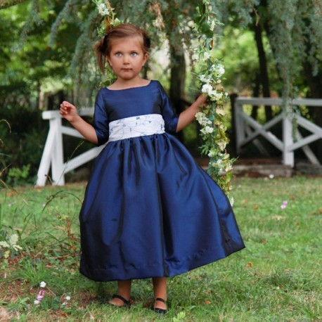 Navy blue flower girl dress for a winter wedding- Royal designer Little Eglantine