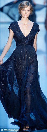 Elie Saab Navy blue veil bridesmaid dress - photo Kristy Sparrow-gettyimages