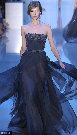 Elie Saab navy blue bridesmaid dress - photo Kristy Sparrow - getty images