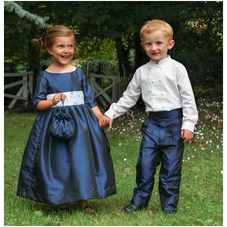 Navy blue designer flower girl dress and page boy outfits by Royal designer Little Eglantine