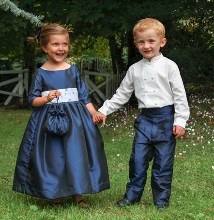 navy blue designer flower girl dress and page boy outfits for a winter wedding by designer little eglantine