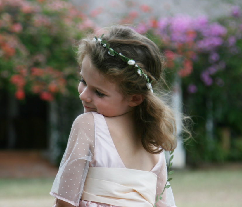 Dorothee deep back flower girl dress by Designer Little Eglantine