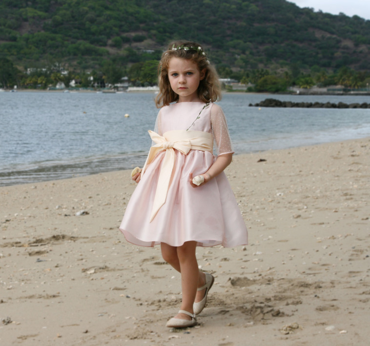 Dorothee blush pink and ivory flower girl dress with sleeves in delicate dotted tulle by royal designer Little Eglantine