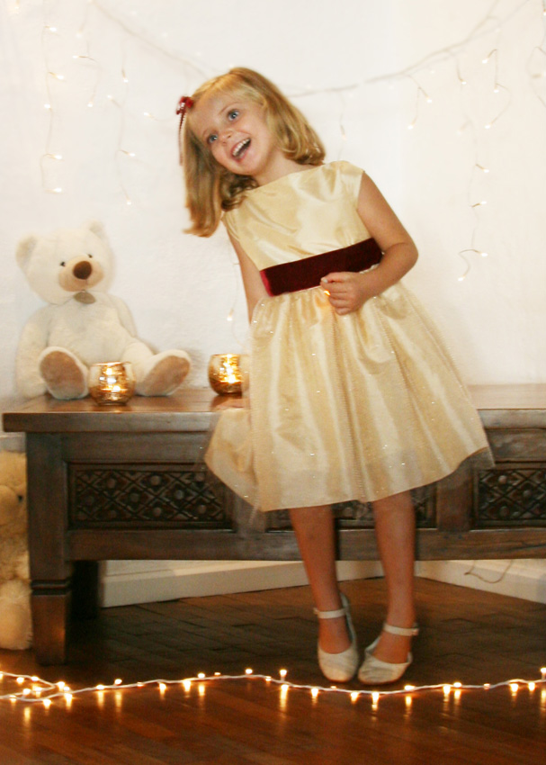 Winter party dress in gold taffeta and sparking tulle by french UK designer Little Eglantine