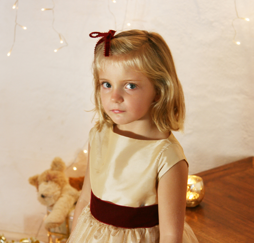 Elena Gold and burgundy flower girl dress for Christmas and winter weddings by French UK designer Little Eglantine