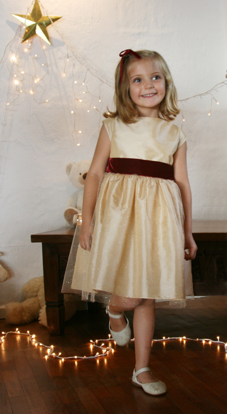 Adorable gold and burgundy party dress for christmas new year's eve and winter holidays by French UK designer Little Eglantine