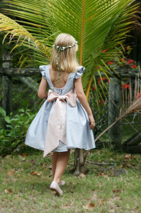 Emmanuelle short flower girl dress with deep back in soft grey and pink - Royal designer Little Eglantine