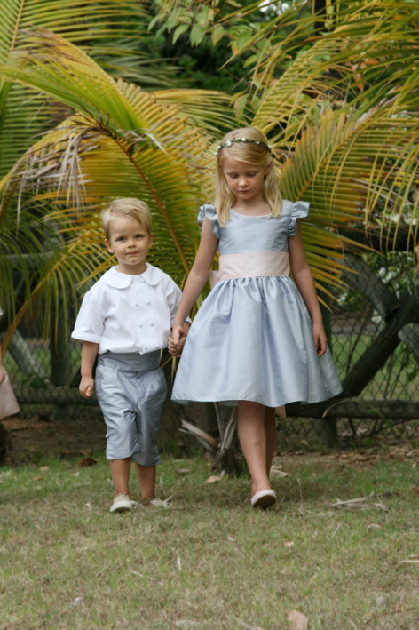 Emmanuelle flower girl dress and page boy outfit by Royal designer Little Eglantine