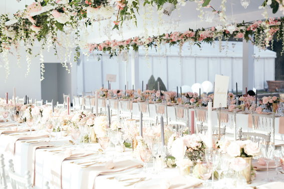 Gorgeous pink Floral arrangements by John Carte flowers for Camilla Thorp and Georges Blandford's wedding