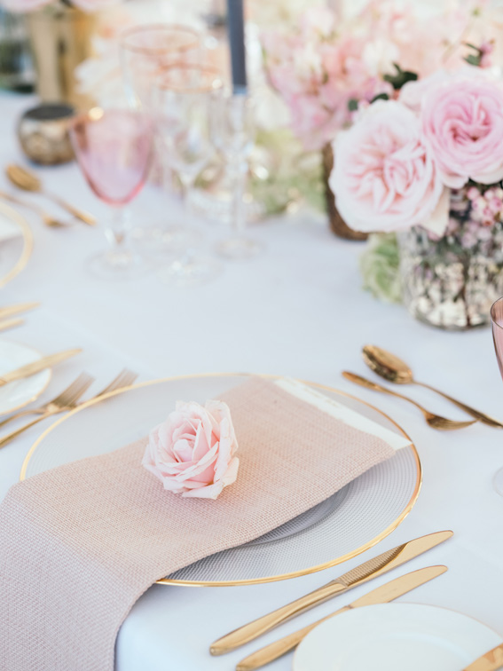 Gorgeous pink grey and gold tablescapes at Camilla Blandorf wedding at Blenheim Palace