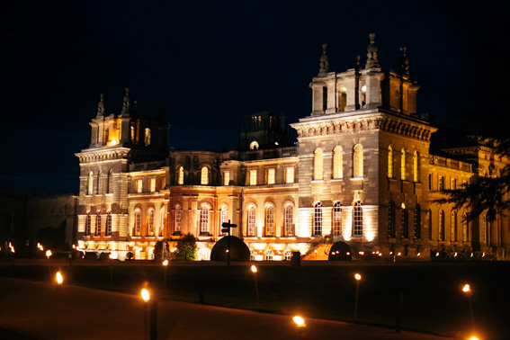 Blenheim Palace at night - Georges and Camilla Blandford wedding - Little Eglantine