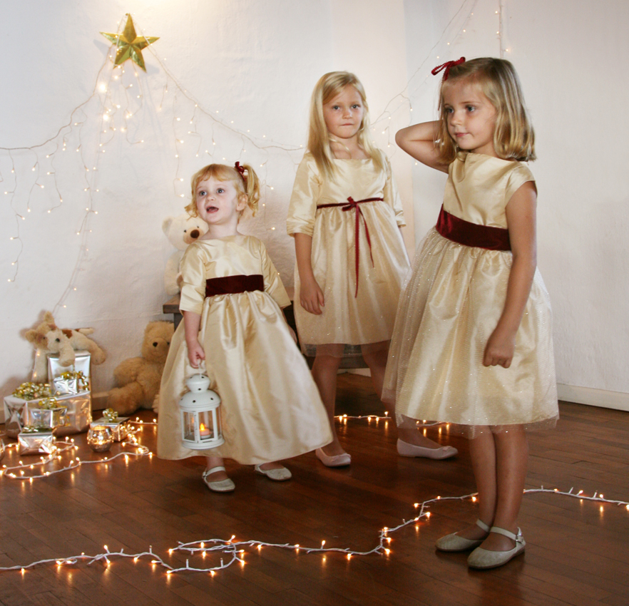 Gold Christmas party dresses for little girls by French UK designer Little Eglantine