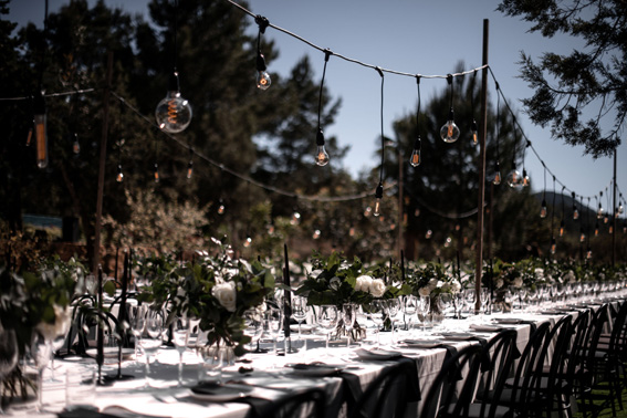 countryside wedding tablescape in black and white