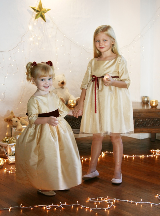 Winter wedding flower girl dresses in gold and burgundy by French UK designer Little Eglantine