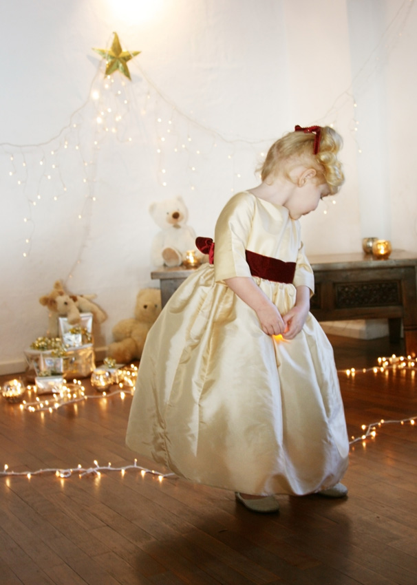 Ines gold and burgundy winter flowergirl dress for winter weddings by French UK designer Little Eglantine