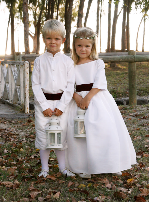 Ines 3/4 length sleeves flower girl dress in white and burgundy velvet sash by Little Eglantine