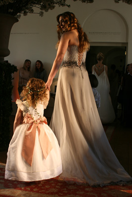 Designer flower girl dresses by Little Eglantine on the catwalk - fashion week haute couture