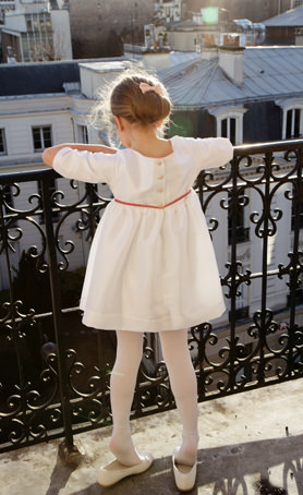 Short flower girl dress with three quarter sleeves for flower girls and parties by designer little eglantine