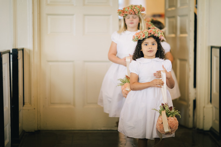 White puff sleeves and peter pan collar flower girl dresses by Little Eglantine