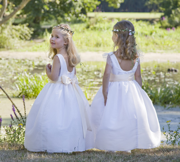 Romantic traditional flower girl dresses for a royal wedding by Little Eglantine
