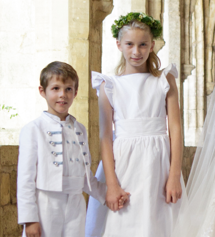 princess Claire of Luxembourg wedding : flower girl dress and page boy outfit designed by Little Eglantine