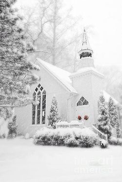 White wooden chapel for a winter wedding - peaceandlovexo.tumblr.com