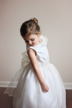 New york Bridal fashion week silk organza flower girl dress by French UK designer Little Eglantine