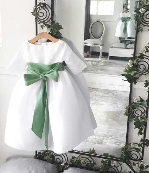 New York Bridal Fashion Week Flower girl dress White and green little eglantine