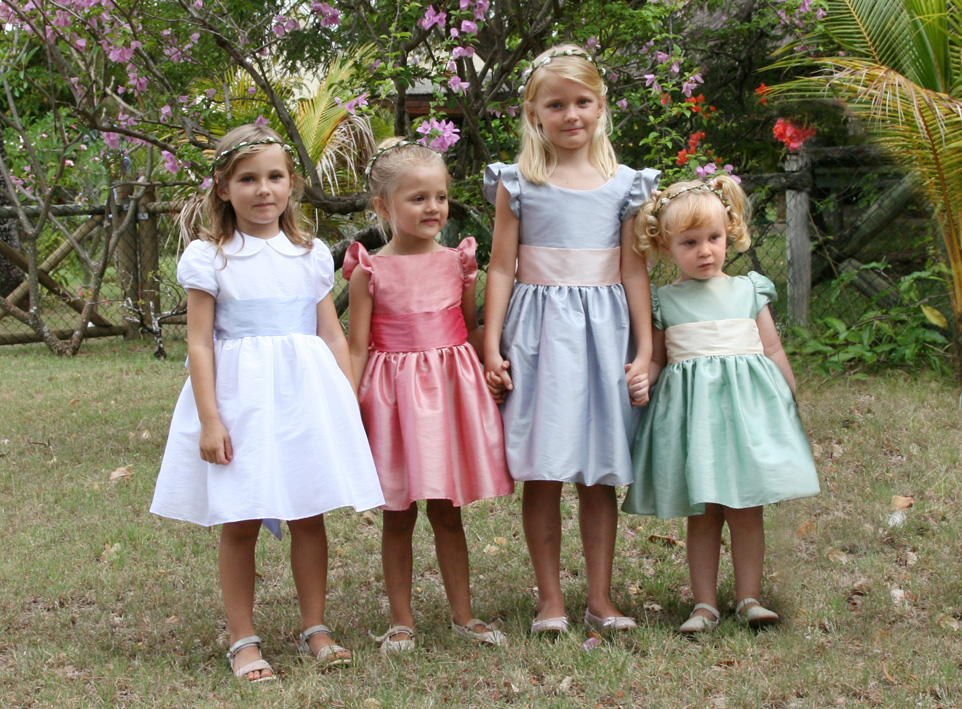 Flower girl dresses in Pastel contrasting colours by Little Eglantine