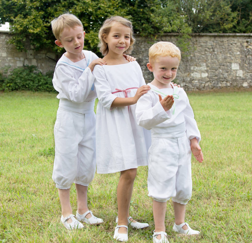 Matching page boy outfits and flower girl dresses by Little Eglantine