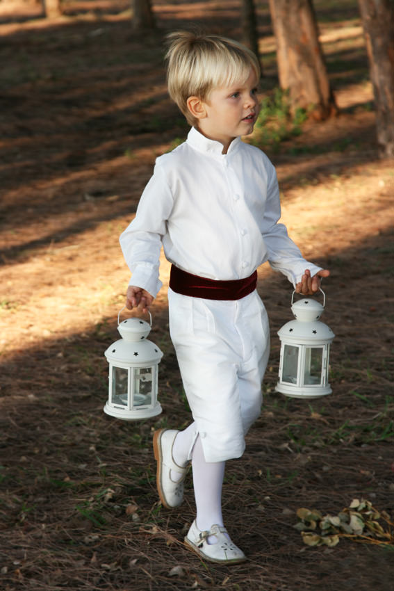 Winter page boy outfit in white and burgundy velvet by Little Eglantine