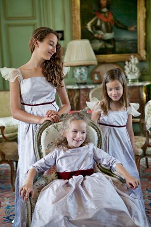 Soft lilac winter flower girl dresses collection by French royal designer Little Eglantine UK