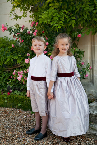 Winter flowergirl dress and page boy outfit by Royal designer Little Eglantine