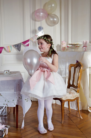 Above the knee royal flower girl dress in silk organza by Little Eglantine