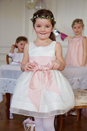 Traditional flower girl dress in silk organza by Royal French designer Little Eglantine