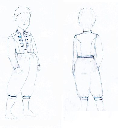 Claire Lademacher page boy outfits sketches by Little Eglantine