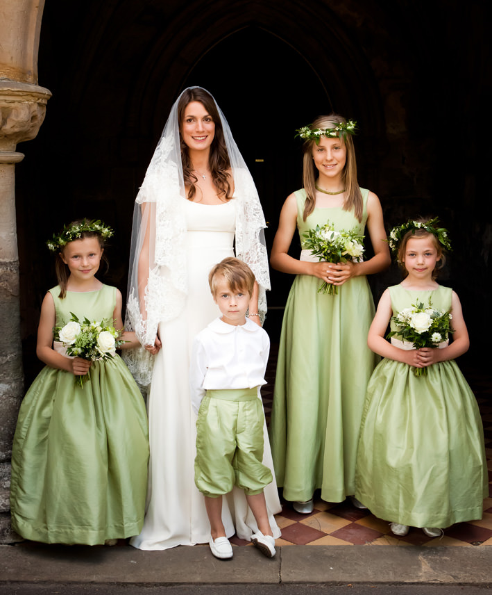 Pale green junior bridesmaid dresses matching the flower girl dresses and page boy outfits by deisnger Little Eglantine